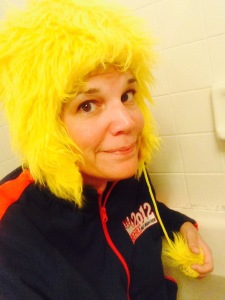 My ice bath outfit -- complete with chicken hat.